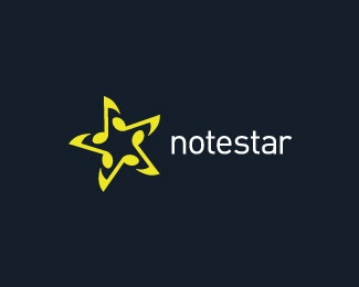 music,notes,star logo