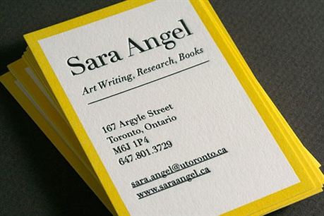 yellow,fancy,letterpress business card