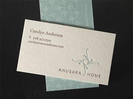 letterpress,offset printed business card