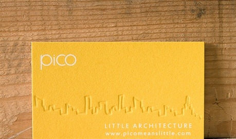 yellow,letterpress,offset printed business card