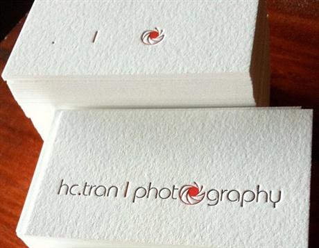 2 color,cotton,letterpress business card