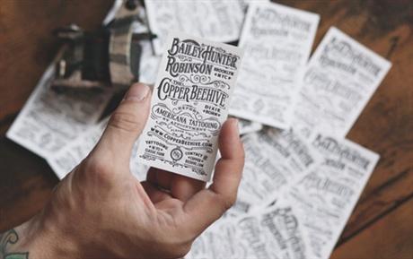 Americana Tattooing Letterpress business card