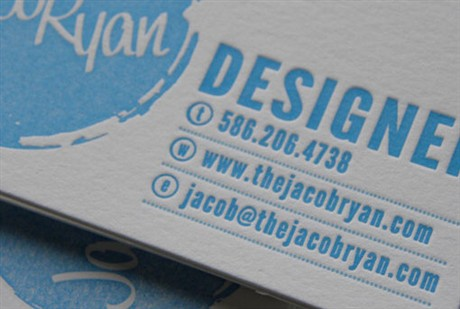 Jacob Ryan Letterpress business card