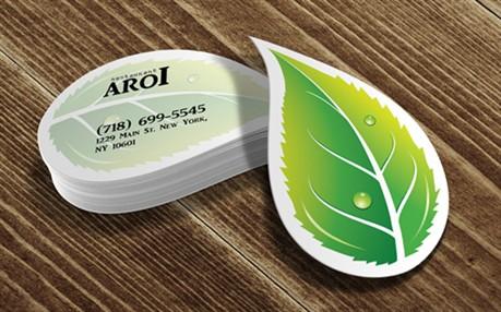 Leafy Die Cut business card