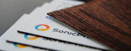 Wood Backed business card