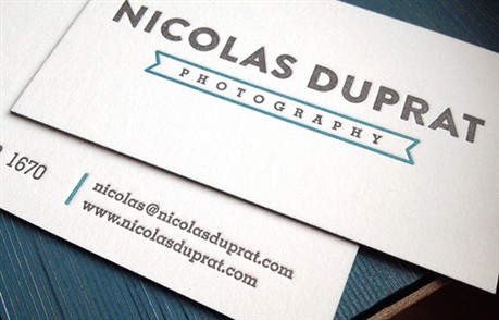 White Letterpress Cards business card