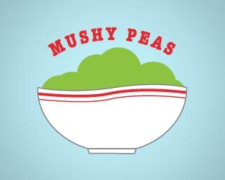 retro,trendy,peas,mushy logo