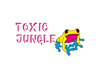blue,pink,red,tree frog,toxic jungle logo