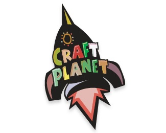 planet,rocket,craft logo