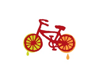 orange,red,lime,bike,juice logo