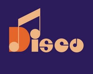 disco notes music dance logo