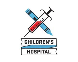 blue,red,hospital,crayon,syringe logo