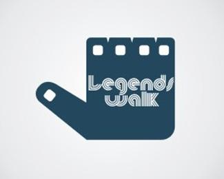 hand,roll,reel,legend,walk logo