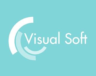 visual round soft blue green semi circle text logo