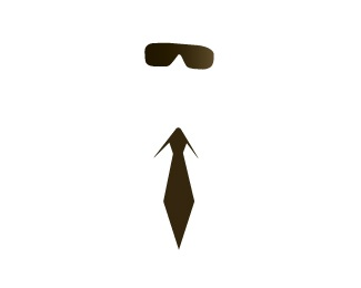 brown,tie,sunglasses logo