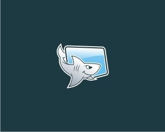 cool,desktop,monitor,shark,awesome logo