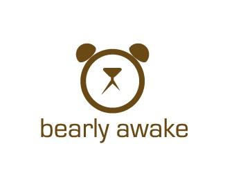 alarm,clock,awake,barely,bearly logo