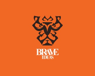idea,ideas,orange,lion,brave logo