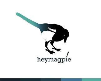 bird,black,white,magpie logo