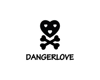 heart,love,skull,danger logo
