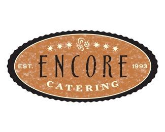 black,encore,bronze,catering,oval logo