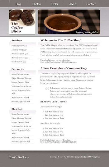 beans,coffee,cup website template