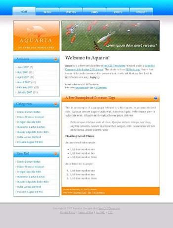 aquatic,fish,water website template
