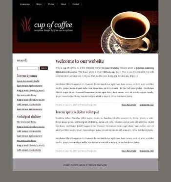 cafe,coffee,cup website template