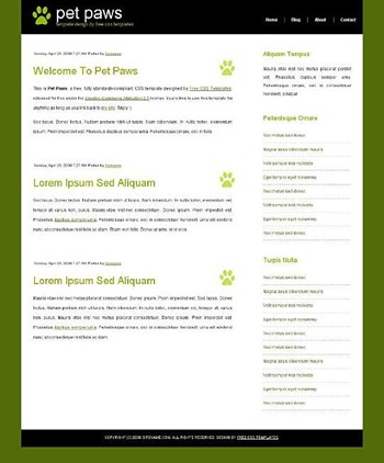animals,paw,pets website template