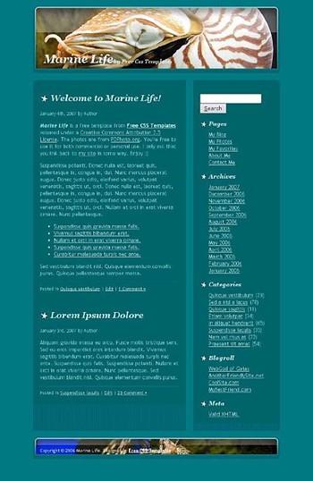 creatures,fish,marine,sea website template